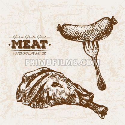 Hand drawn sketch meat sausages products set, farm fresh food, black and white vintage illustration - frimufilms.com