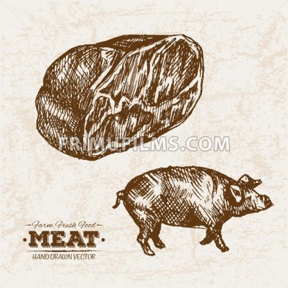 Hand drawn sketch pork and ham meat products set, farm fresh food, black and white vintage illustration - frimufilms.com