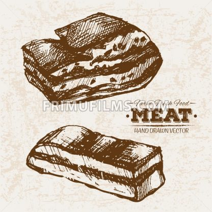 Hand drawn sketch pork ham meat products set, farm fresh food, black and white vintage illustration - frimufilms.com