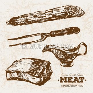 Hand drawn sketch pork meat products set, farm fresh food, black and white vintage illustration - frimufilms.com