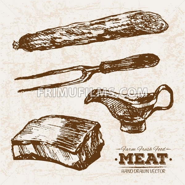 Hand drawn sketch pork meat products set, farm fresh food, black and white vintage illustration - frimufilms.com
