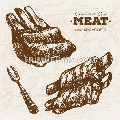 Hand drawn sketch ribs meat products set, farm fresh food, black and white vintage illustration - frimufilms.com