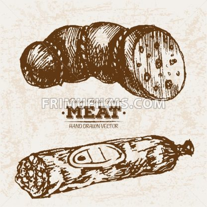Hand drawn sketch salami meat products set, farm fresh food, black and white vintage illustration - frimufilms.com