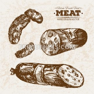 Hand drawn sketch salami meat products set, farm fresh food, black and white vintage illustration - frimufilms.com