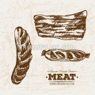 Hand drawn sketch sausages and ham meat products set, farm fresh food, black and white vintage illustration - frimufilms.com