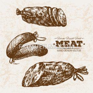 Hand drawn sketch sausages meat products set, farm fresh food, black and white vintage illustration - frimufilms.com