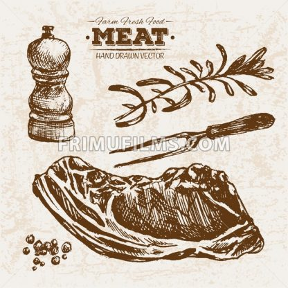Hand drawn sketch stake meat products set, farm fresh food, black and white vintage illustration - frimufilms.com