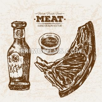Hand drawn sketch steak meat and ketchup, farm fresh food, black and white vintage illustration - frimufilms.com