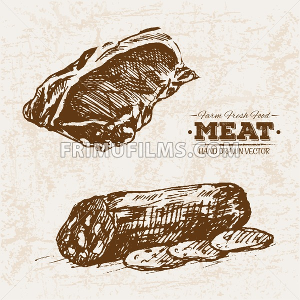 Hand drawn sketch steak meat and salami products set, farm fresh food, black and white vintage illustration - frimufilms.com