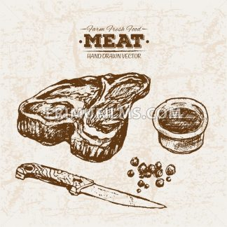 Hand drawn sketch steak meat and sauce, farm fresh food, black and white vintage illustration - frimufilms.com