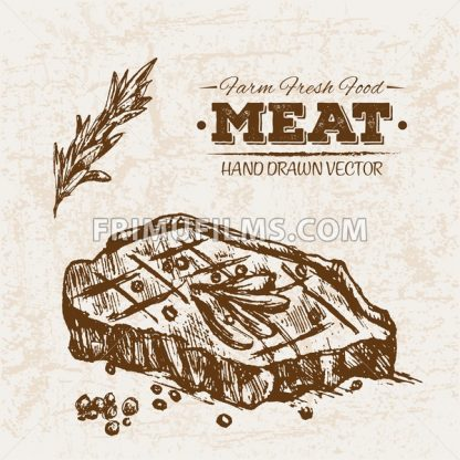 Hand drawn sketch steak meat products set, farm fresh food, black and white vintage illustration - frimufilms.com