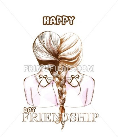Happy Friendship day card Vector. Two girls united by hair braiding illustration. line art - frimufilms.com