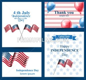 Happy Independence day american flag Vector cards. 4th of july postcard set collection - frimufilms.com