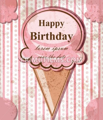 Happy birthday baby card with ice cream. Vector delicate pink vintage theme. pastel color - frimufilms.com