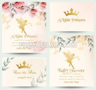 Happy birthday little princess cards set Vector. Delicate floral bouquet - frimufilms.com