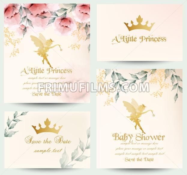 Happy birthday little princess cards set Vector. Delicate floral bouquet - frimufilms.com