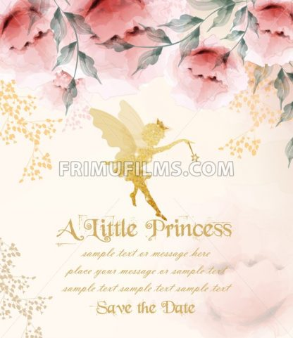 Happy birthday princess card Vector. Delicate floral bouquet - frimufilms.com