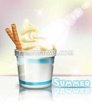 Ice cream Vector realistic. Summer delicious frozen yogurt. 3d detailed illustration - frimufilms.com