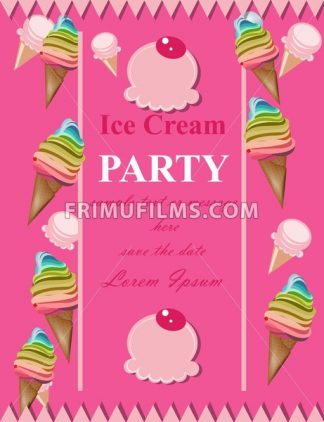Ice cream pink party invitation card Vector. Summer birthday card or event poster - frimufilms.com