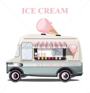 Ice cream stand vehicle Vector. Summer background. Birthday card or event poster - frimufilms.com