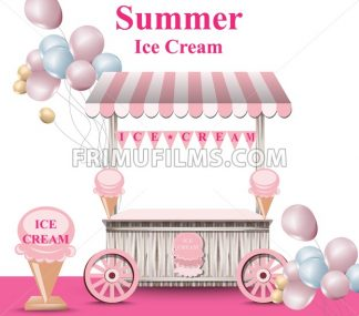Ice cream stand with balloons Vector. Summer background. Birthday card or event poster - frimufilms.com