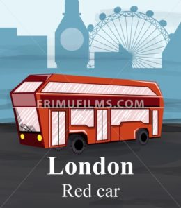 London red bus Vector. Travel card poster template. cartoon style illustration - frimufilms.com