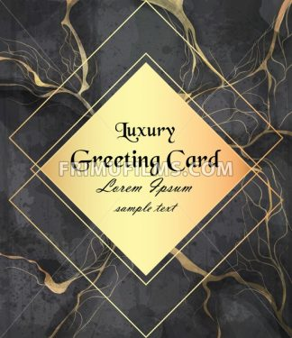Luxury greeting card with golden frame on black marble background Vector. Luxury stone pattern texture - frimufilms.com
