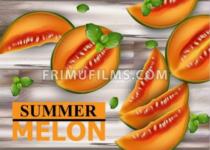 Melon fruits on wooden background Vector. Summer fresh sliced juicy melon realistic style illustration - frimufilms.com