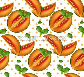 Melon pattern Vector. Summer fruits retro background - frimufilms.com