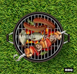 Picnic bbq Vector realistic. Green grass lawn background. Fish and sausages cooking on the grill illustration - frimufilms.com