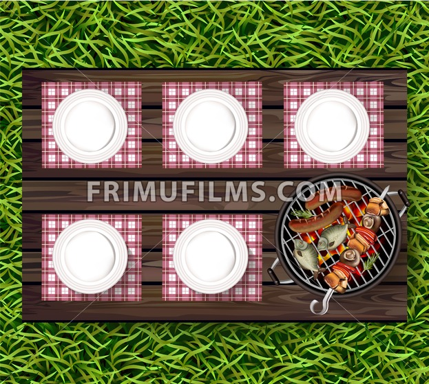 Picnic bbq Vector realistic. Top view plates on wooden table and sausages on the grill - frimufilms.com
