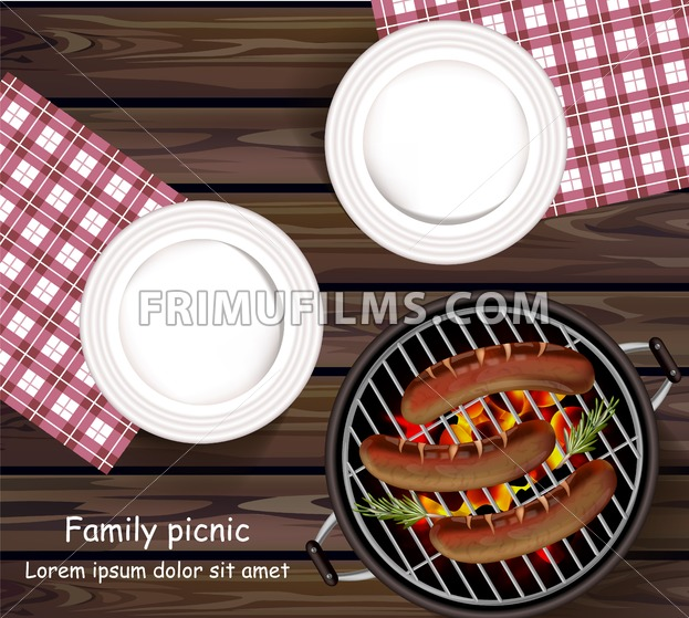 Picnic bbq Vector realistic. Top view plates wooden table and sausages on the grill - frimufilms.com
