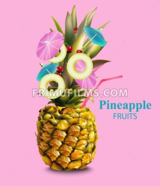 Pineapple fruit cocktail on pink background Vector illustration - frimufilms.com