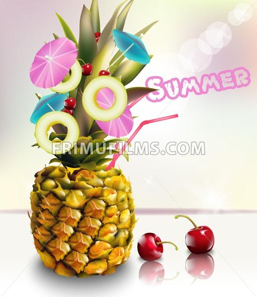 Pineapple summer fresh cocktail drink Vector illustration - frimufilms.com