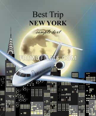 Plane flying over New York city at night Vector. Full moon and skyscrapers background - frimufilms.com