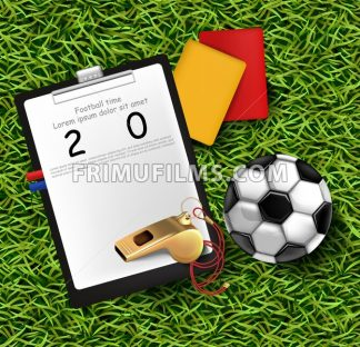 Scoreboard, soccer ball and whistle on green grass Vector illustration - frimufilms.com