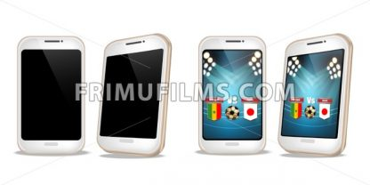 Smartphone with football score on screen Vector realistic. Sports betting online web banner template - frimufilms.com