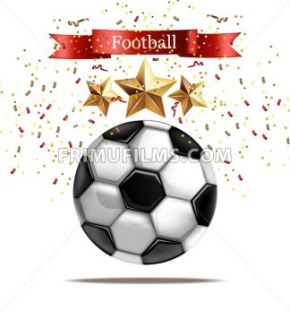 Soccer ball Vector realistic illustration. Football celebration. Sparkling stars 3d template - frimufilms.com