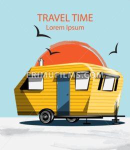 Summer Travel car Vector. Camping trailer on blue background - frimufilms.com