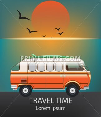 Summer Travel car Vector. Camping trailer on blue background - frimufilms.com