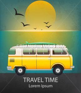 Summer Travel car Vector. Camping trailer on sunset background - frimufilms.com