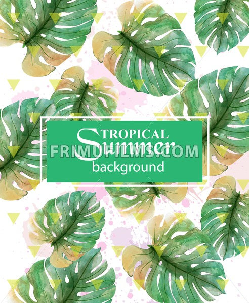 Summer Tropic palm leaves Vector. Exotic hot background illustration - frimufilms.com