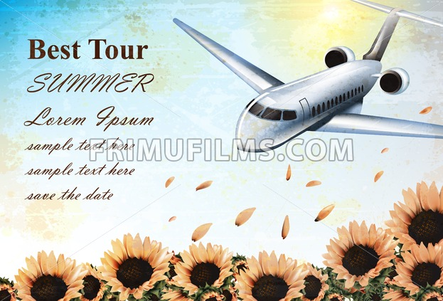 Summer Vacation card with tropic plane flying over sunflowers field Vector. Travel card exotic destination template banner - frimufilms.com