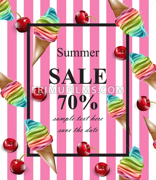 Summer sale card Vector. Ice cream pink banner background - frimufilms.com