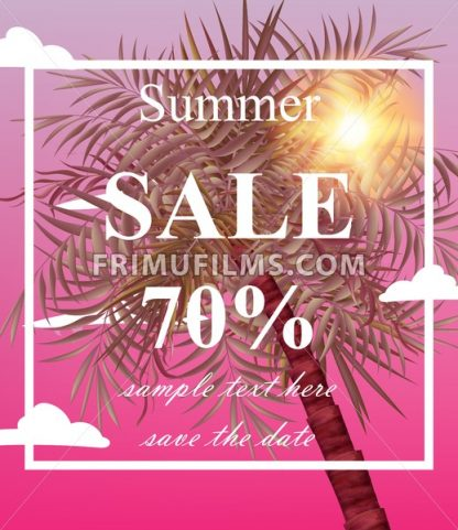 Summer sale card Vector. Palm tree pink background - frimufilms.com