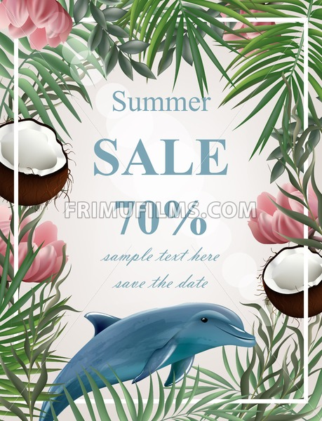 Summer sale card with palm tree, coconuts, dolphin Vector illustration - frimufilms.com