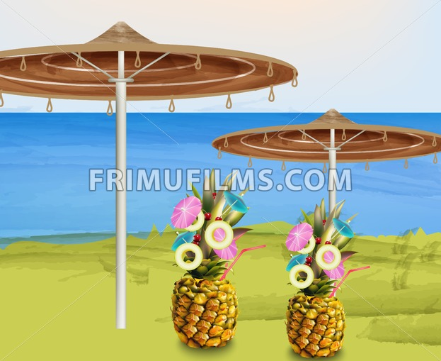 Summer umbrella and pineapple cocktails Vector illustration - frimufilms.com