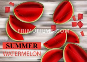 Summer watermelon Vector. Fruits slices on wooden background - frimufilms.com