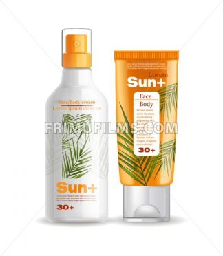 Sun cream and lotion protection Vector mock up. Realistic product packaging set collection. Sun screen Uv protection products. 3d illustration - frimufilms.com