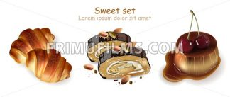 Sweet croissants, pistachio rolls and panna cotta desserts Vector. Realistic 3d illustration - frimufilms.com